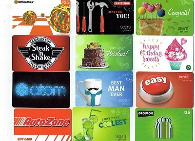 Collectible Gift Card - YOU CHOOSE 3 for $1.59 - No Value - Sears, Publix, Atom+