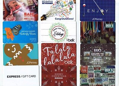 Collectible Gift Card - YOU CHOOSE 3 for $1.59 -Holiday Dick's, Belk, BAM Kohl's