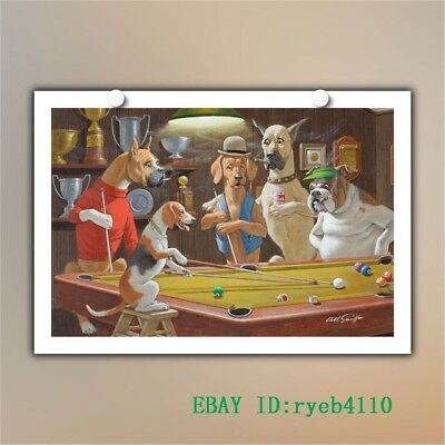 Dogs Playing Pool HD Canvas Print Home Decor Painting Wall Art 12x18 inch #02