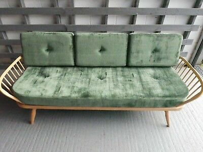 Cushions & Covers Only. Ercol Studio Couch/Daybed.  Dark Green Crushed Velvet