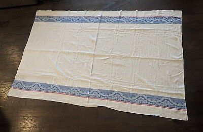 Vintage White Tablecloth with Blue Floral Red Stripe Thin Large Rectangle Flower