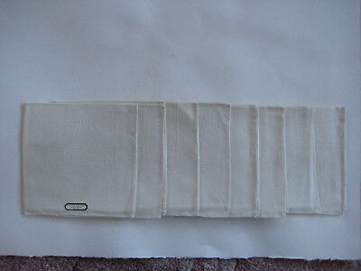 "Lot of 8 Vintage White Irish Linen 17""X17"" Napkins, never used"