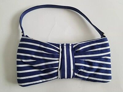 Janie Jack Ciao Capri White Blue Stripe Purse