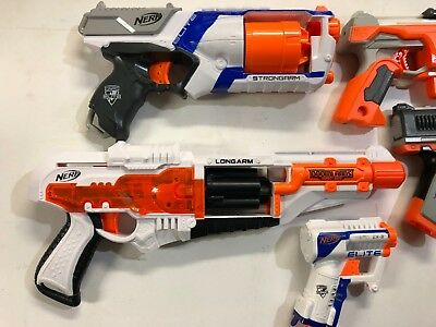 Lot 5 Nerf Strongarm, Longarm, Accustrike Falconfire, Zombie Strike, Elite Triad