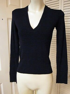 A/x Armani Exchange Xchange Black Pintuck Knit Retro V Neck Sweater Shirt Top S