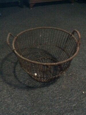 Antique Vintage Rusty Wire Clam Oyster Harvest Fishing Basket
