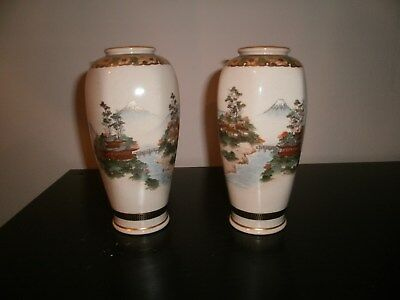 Antique satsuma Japanese Pair Vases-Hand painted Signed