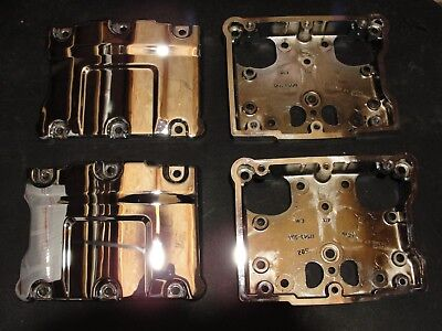 Harley 17572-99 and 17573-99 Chrome Twin Cam Rocker Arm Covers Housings Set Pair