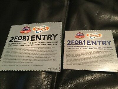 2 Alton Towers/ Thorpe Park 2 FOR 1 Tickets
