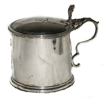 Antique Sterling Silver Mustard Pot Complete with Blue Glass Lining London 1786