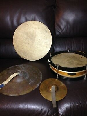 A lovely old rare antique A.W Gamage hand drum + another drum and old cymbals
