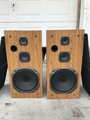30 Inch Fisher Vintage Speakers ST-412 3 Way System brown Made in USA 30x15x11