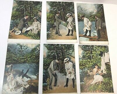Vintage Postcards Lot Of 6 Romance Couple Series 12203, Made In Austria Unposted