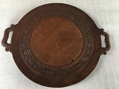 Antique Wooden Carved Serving Tray