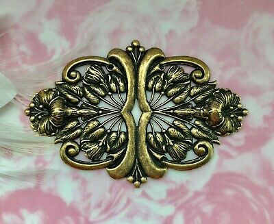 ANTIQUE BRASS Art Nouveau Scrolling Flower & Leaf Stamping Oxidized (FC-2)