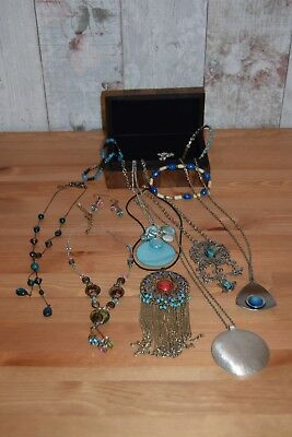 Job lot(3) Vintage and Modern costume jewellery and wooden box