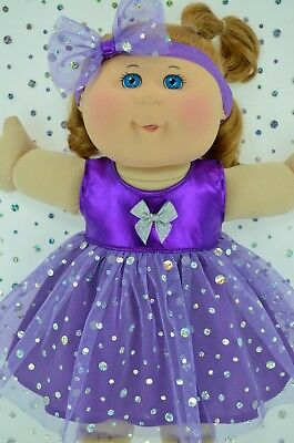 "Play n Wear Doll Clothes To Fit 14"" Cabbage Patch PURPLE SEQUIN DRESS~HEADBAND"