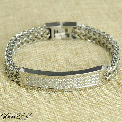 """8"""" Mens Ladies Stainless Steel 10 mm Double Franco ID Bracelet Micro-Pave CZ"""