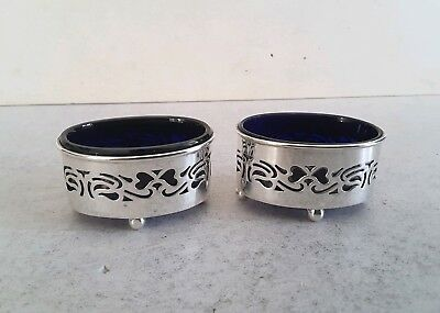Pretty Pair Oval, Pierced Antique Solid Silver Salt Cellars.         Birm. 1903.