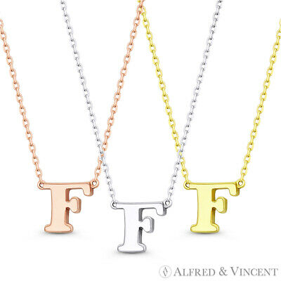 """Initial Letter """"F"""" 14k Rose White Yellow Gold Pendant & Chain Necklace"""