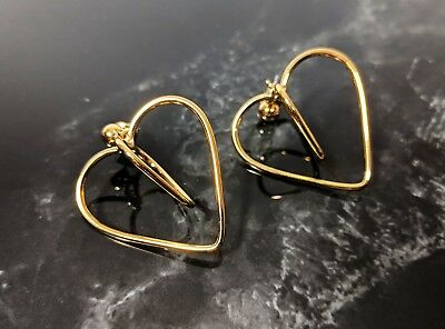 Not Yet Vintage Lovely Vintage Gold tone Dangle Hearts Push Back Studs Earrings