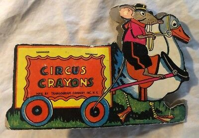Vintage Circus Crayons Transogram Co. Inc NY Cardboard Mouse Riding Goose