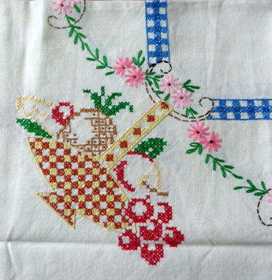 """Vintage 34"""" x 36"""" FRUIT BASKET Hand Embroidered Tablecloth Table Topper Cotton"""