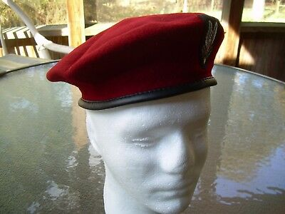 British Military Beret Hat WW2 SAS Red Burgandy Cap 'Who Dares Wins', size 7