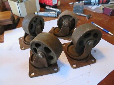 4 vintage industrial single wheel casters factory/ steampunk