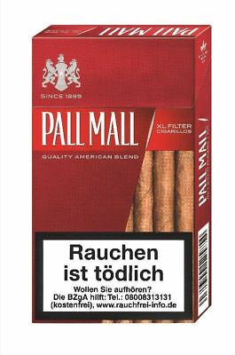 3 stange Pall Mall Red XL Filter Zigarillos sky ticket serie