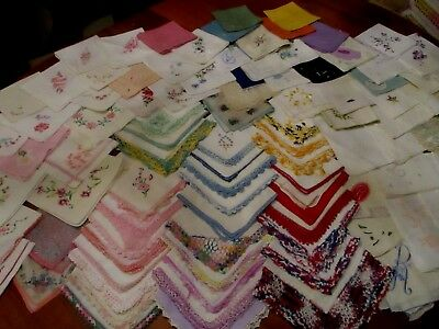 lot of 90+ Vintage cutter/craft Embroidered, crochet hankies w flaws Variety