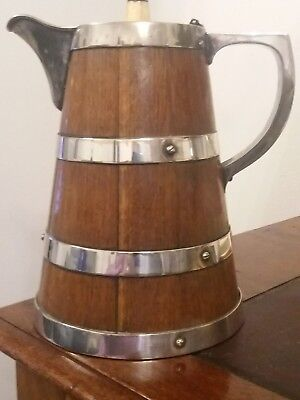 Oak and Silver Plated Water Jug  / Pitcher (Hallmarked) Circ.1890