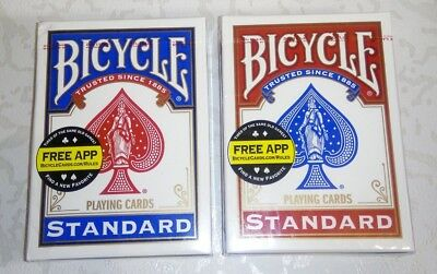 Bicycle Playing Cards Standard DECKS 1 Red & 1 Blue - Made in the U.S.
