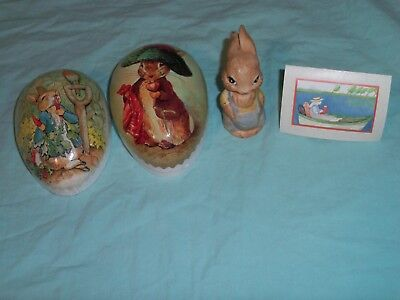 Easter Egg Echt Erzgebirage Paper Mache Germany w/Paris Bottman Bunny