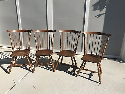 4 ANTIQUE WINDSOR CHAIRS ~ 1940's American ~ All Quality Peg Construction