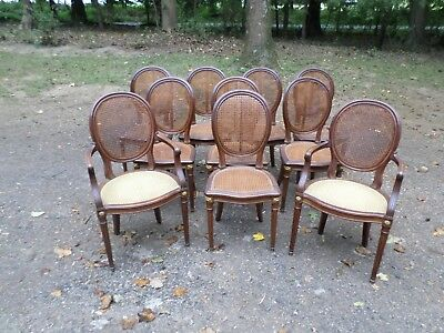 Set of 10 Louis XVI style Dining Chairs, signed Haentges Freres Paris