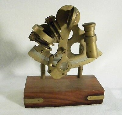 Vintage Brass Sextant?? Nautical Maritime Ship Boat Instrument Wood Stand Base