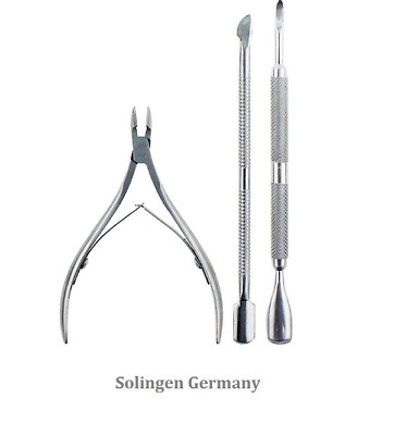 Cuticle Nipper Stainless Steel and Nail Pusher 3 pcs Set Salinger