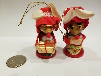 **VINTAGE**ADORABLE! Christmas Ornament PAIR Wooden Gramma Mice w/Glasses