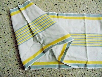 """Vintage YELLOW & GRAY STRIPED Cotton Roller Tea Towel 16"""" x 67"""" Cylindrical"""