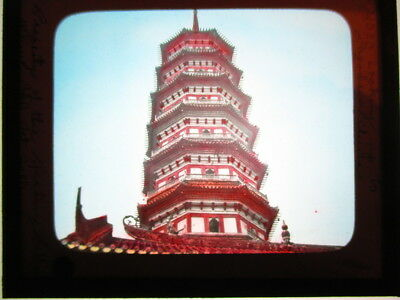 c1910 Colored Magic Lantern Slide-View of Pagoda in China