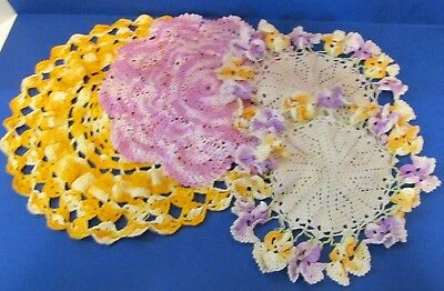 Lot of  4 Vintage Crocheted Doilies White, Purple, Yellow, Gold Trim