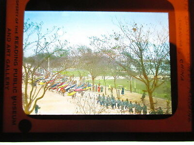 c1910 Colored Magic Lantern Slide-Chinese Soldiers Marching in Shanghai, China