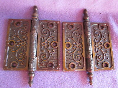 Victorian Old Cast Iron Door Hinges #4 Of 4 Matching Pairs Available Nos