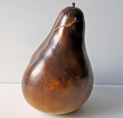 """Antique Large Hand Carved Pear 8"""" tall"""