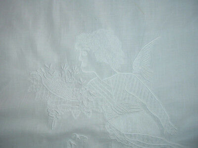 Remnants Antique Sheet Embroidered Cupids Flowers Monogram Lace Repurpose