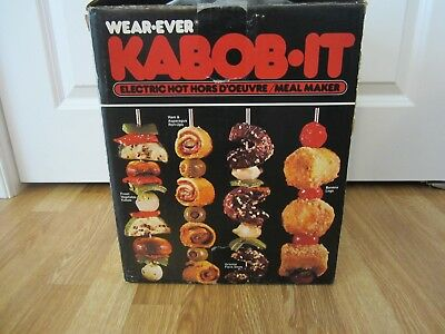 UNUSED Vtg Wear-Ever Kabob-It Electric Hors D'Oeuvre Meal Maker Rotisserie RETRO