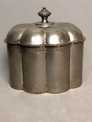 1994 Godinger Ornate Metal Silver Plate Red Velvet Lined Jewelry Box With Lid