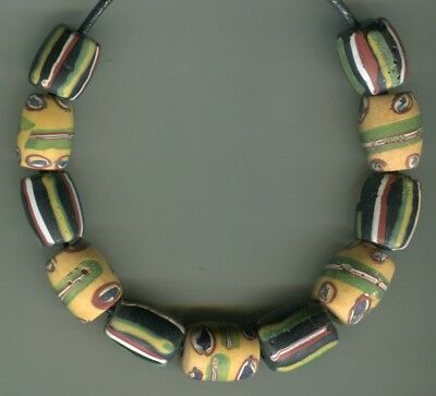 African Trade beads Vintage Venetian glass mix old striped and fancy barrels