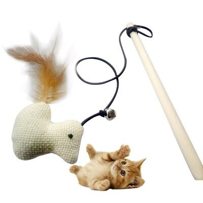 Funny Kitten Pet Cat Teaser Wand Rod Chicken Feather Wire Chaser Toys Play